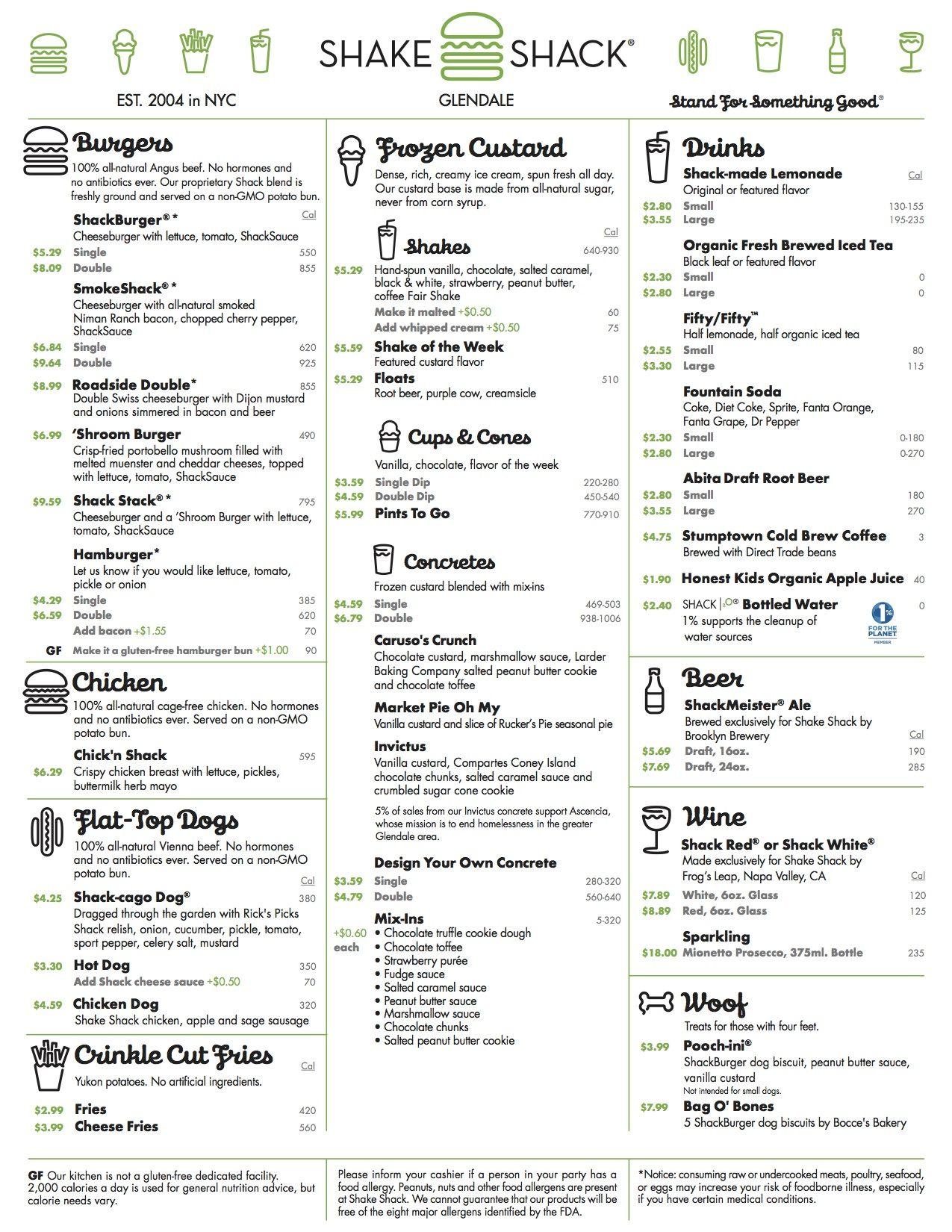 Glendale Shake Shack Menu | Local Travel & Food | Pinterest | Shake ...