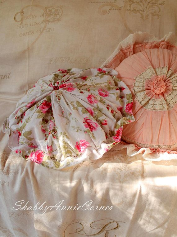 Shabby chic pillow Pink Roses round ruffle pillow Round floral pillow French Country Cottage Summer Farmhouse pillow Ruffle circle pillow