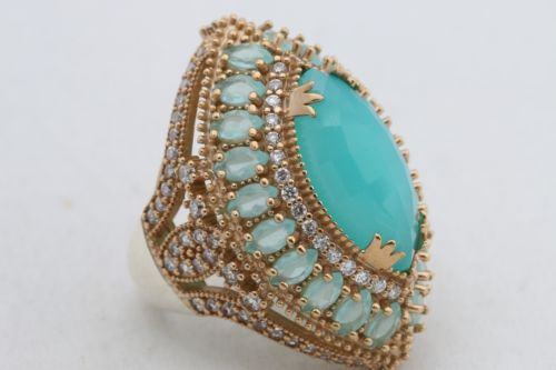 925-Sterling-Silver-Turkish-Jewelry-Marquise-Cut-Aquamarine-Precious-Ring-Size-8