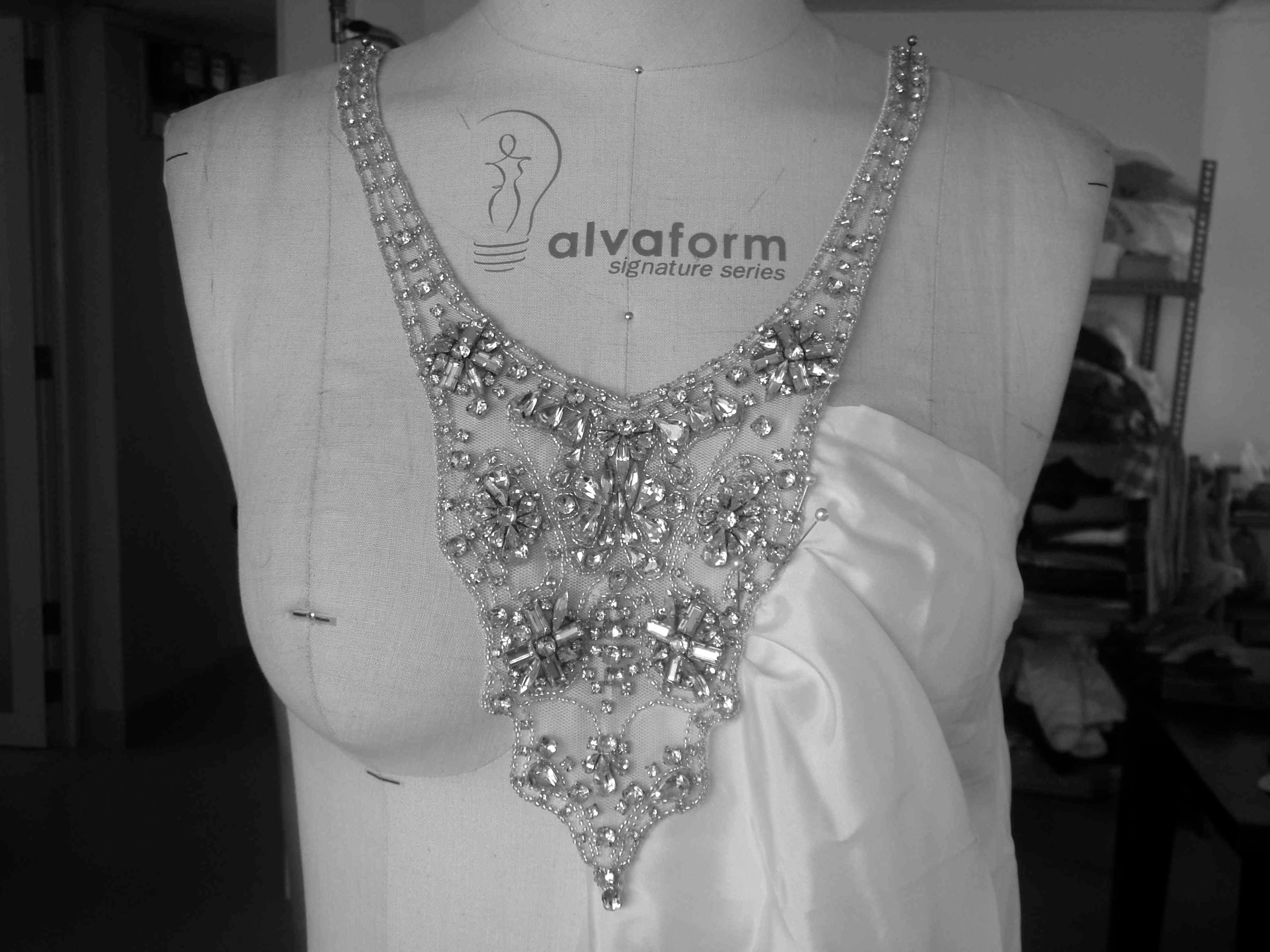 Custom made bridal gown in the making with feature beaded neck-piece. By Bohemian Luxe Bridal Couture