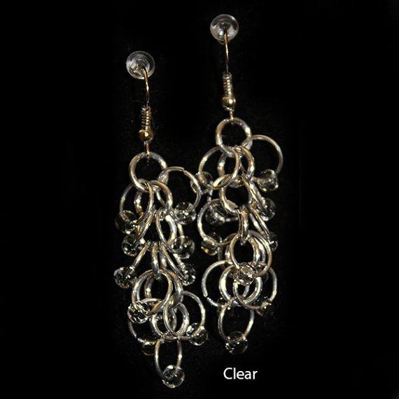 Clear Cluster Earring by ChainmailByM on Etsy, $15.00