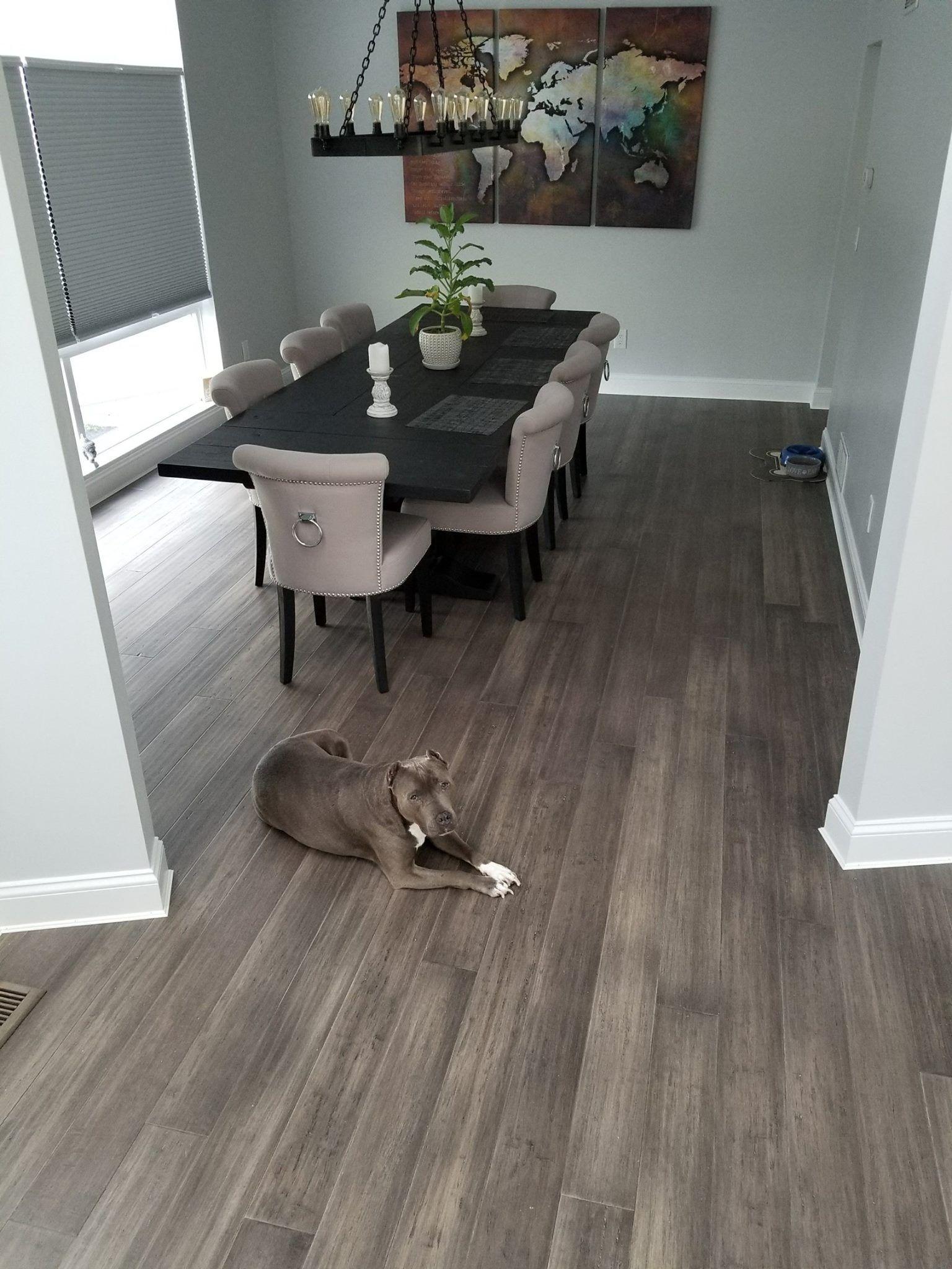 Boardwalk hardwood narrow plank bamboo flooring sample in