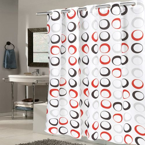Found It At Wayfair Circle Fabric Shower Curtain Red Shower Curtains Fabric Shower Curtains White Shower Curtain