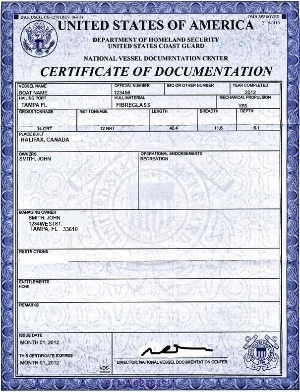 Sample United States Coast Guard Certificate Of Documentation For