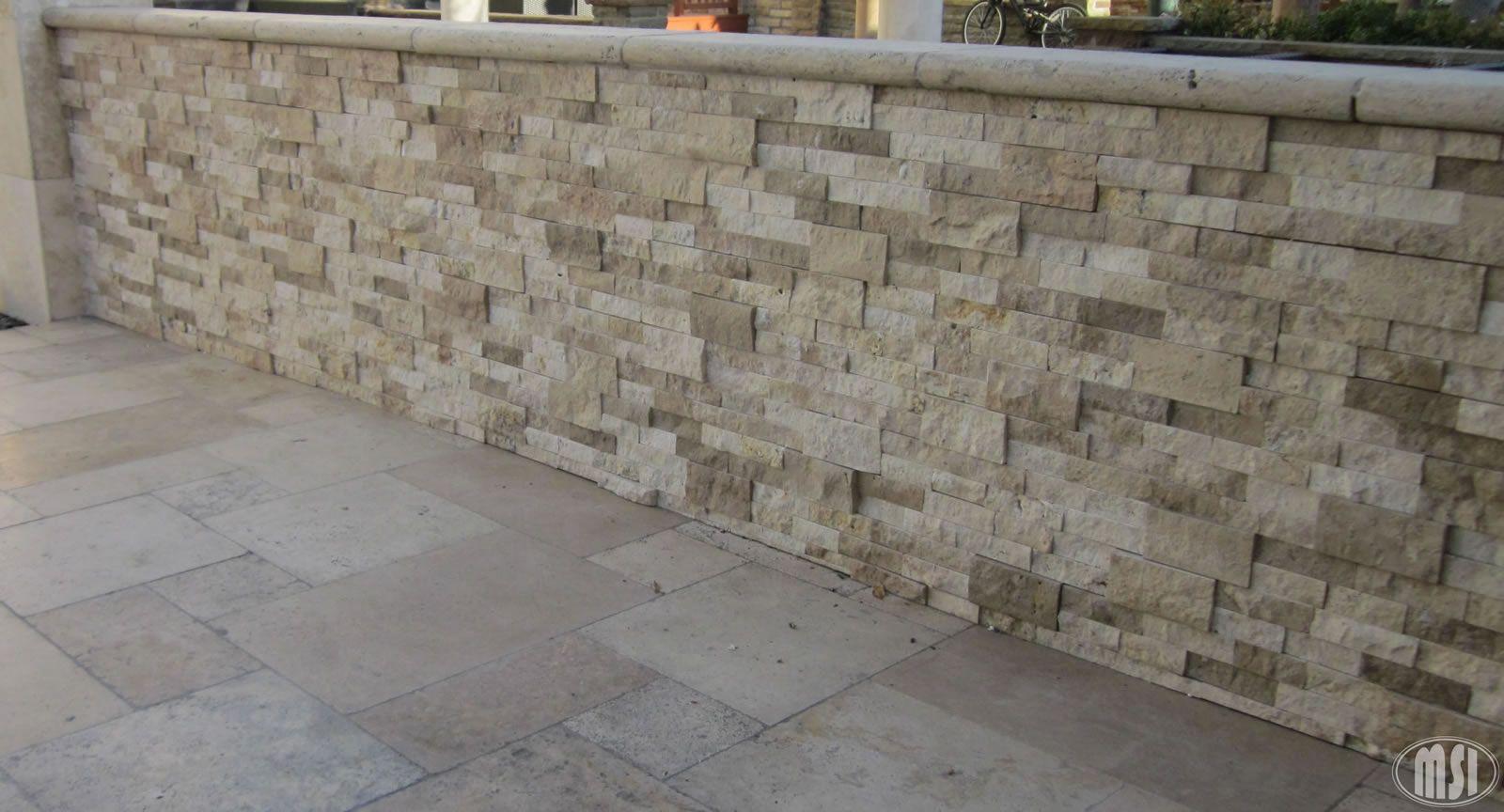 Aspect 6 x 24 inch autumn sandstone peel and stick stone backsplash - Tuscany Ivory Ledger Panels Roman Beige