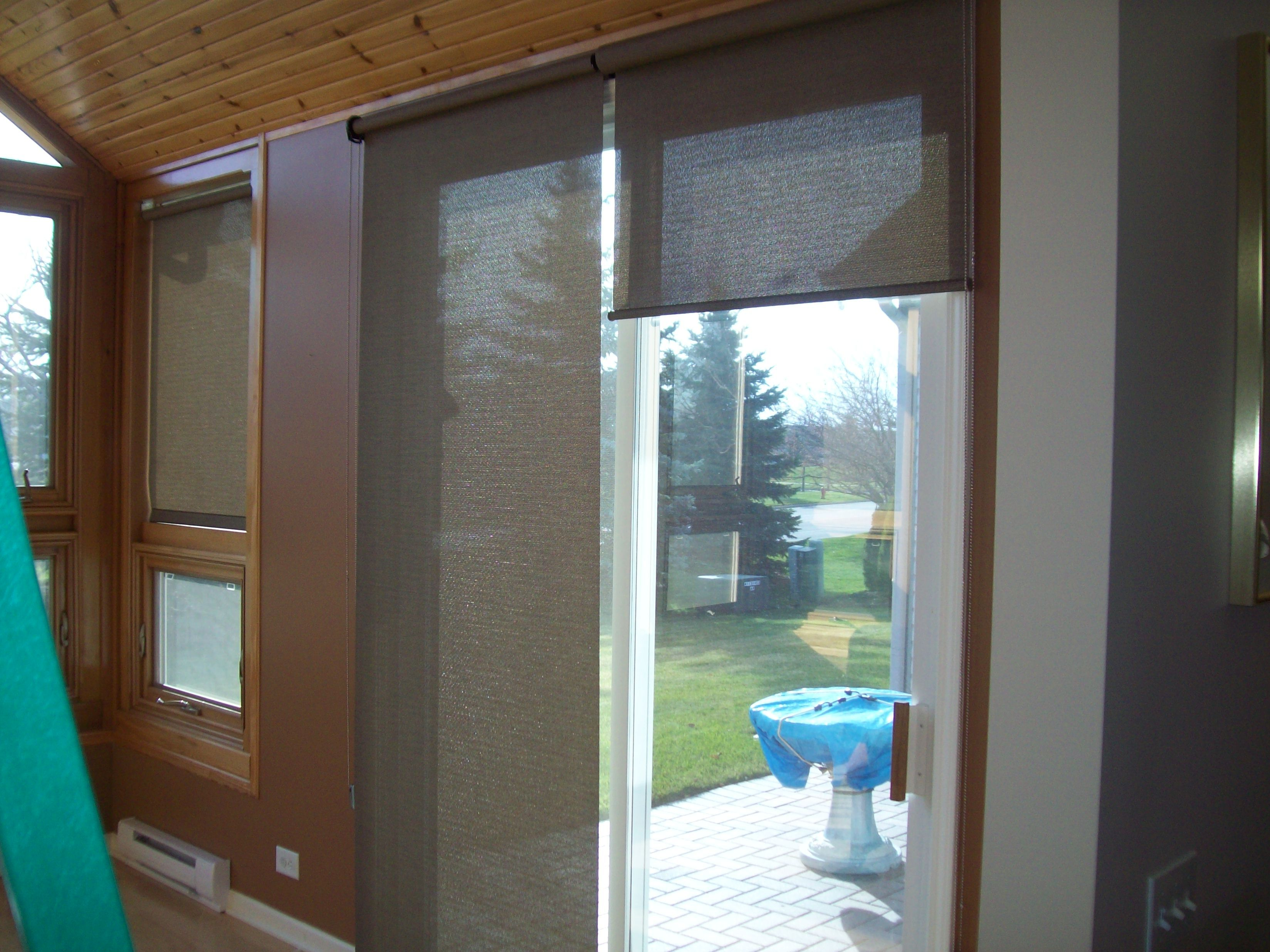 Sun Screen Shades On A Sliding Glass Door Sliding Glass Door
