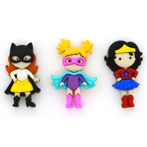 Jesse James Buttons ~ Dress It Up Super heros~ Crafts GIRL POWER
