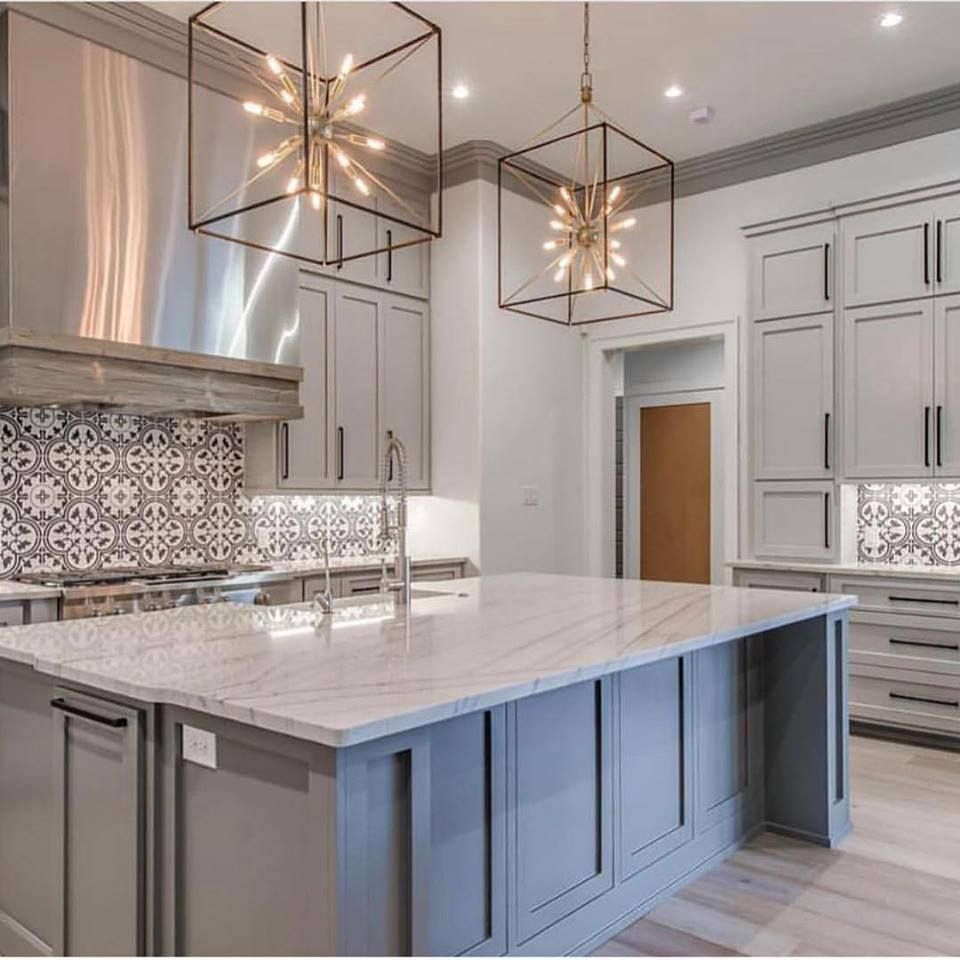 Grey Modern Kitchen With Mixed Metals And Oversized Pendants Interior Light Fixtures Kitchen Lighting Fixtures Ceiling Kitchen Lighting Fixtures