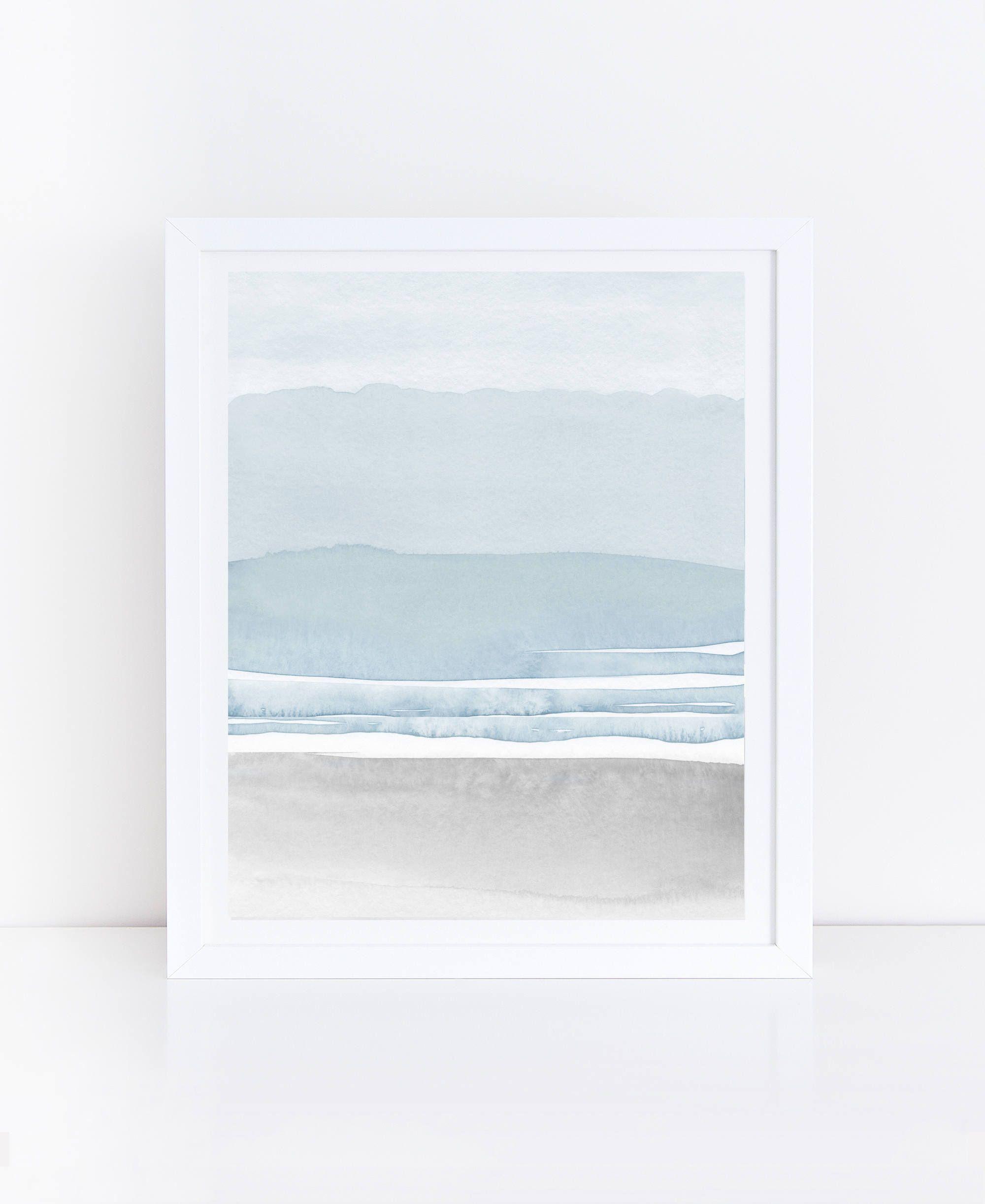 Blue Grey Watercolor Print Printable Abstract Art Blue Grey Wall