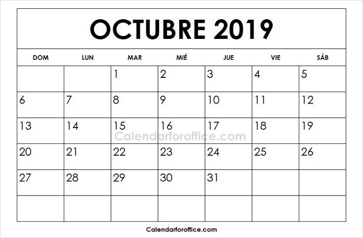 October 2019 Calendar Spanish February Calendar April Calendar