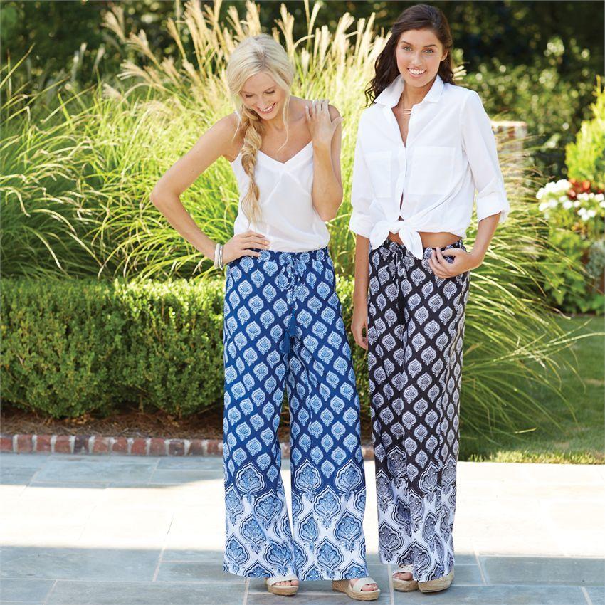Size L Ashlynne Pants Women's Fashion Resort Wear Navy Blue Jaipur Mud Pie