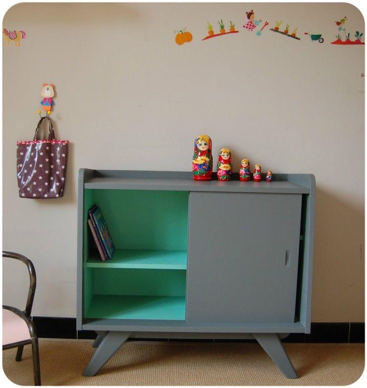 meuble portes coulissantes esprit vintage papi en 2019. Black Bedroom Furniture Sets. Home Design Ideas