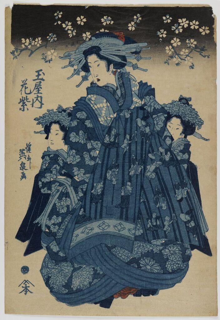 Tamaya Nishi, Hana-murasaki. Woodblock print, by Keisai Eisen, c. 1830, Brooklyn Museum