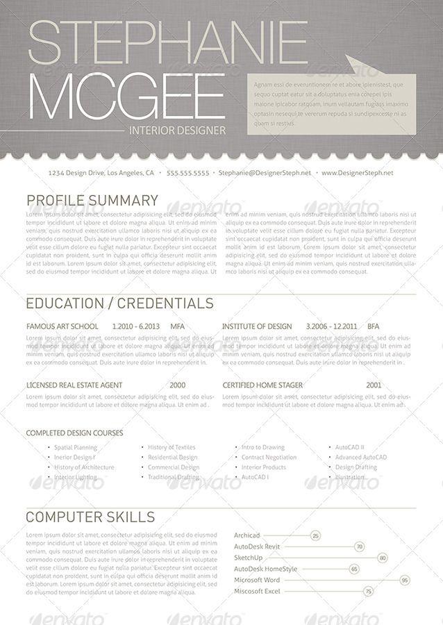 Clean And Modern Interior Designer Resume Graphicriver Interior Design Resume Resume Design Institute Of Design