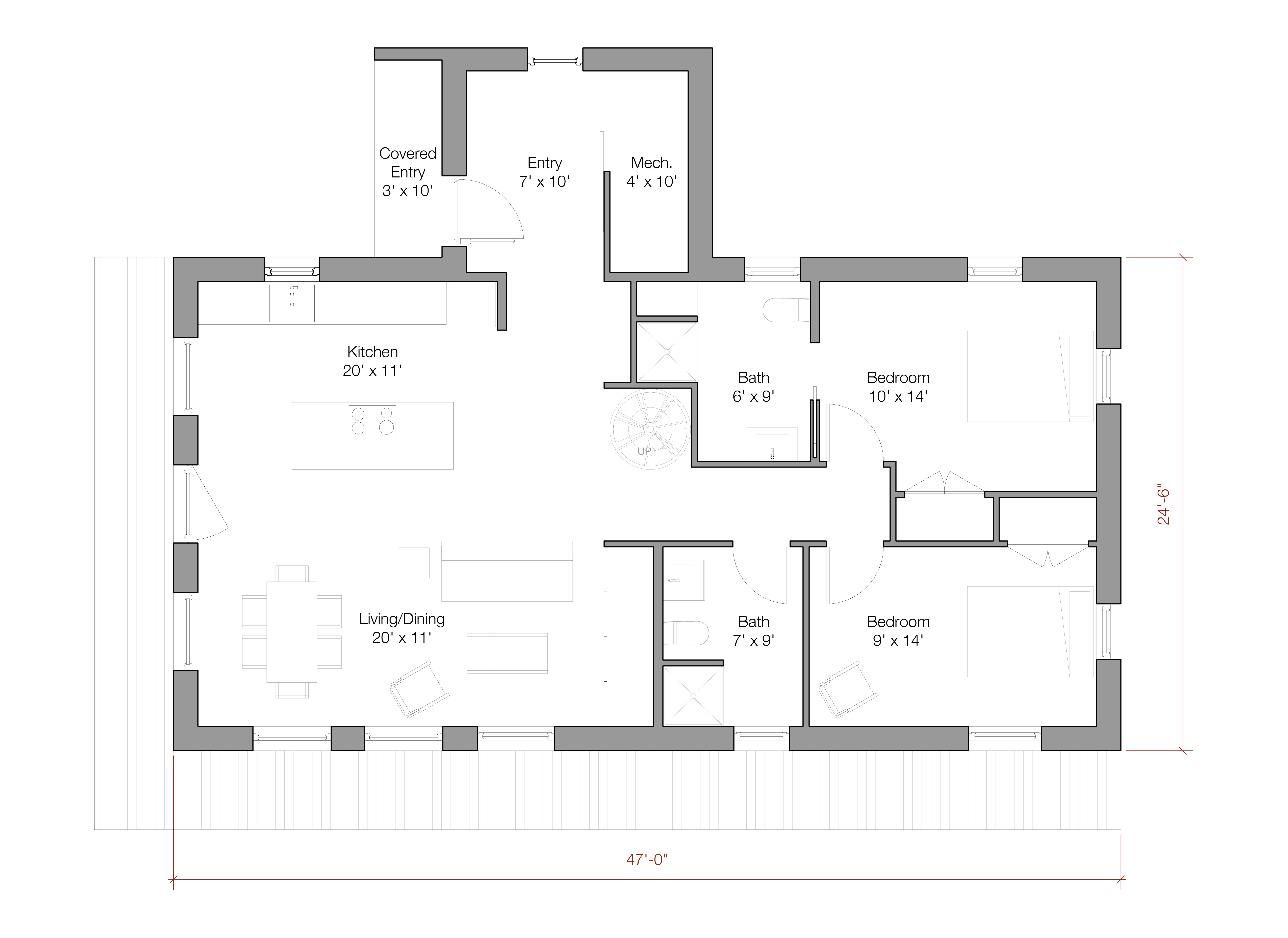 The 1,200 sq. ft. model offers single story living with a