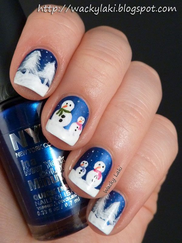 Wacky Laki Snowman Christmas Nail Nails Nailart