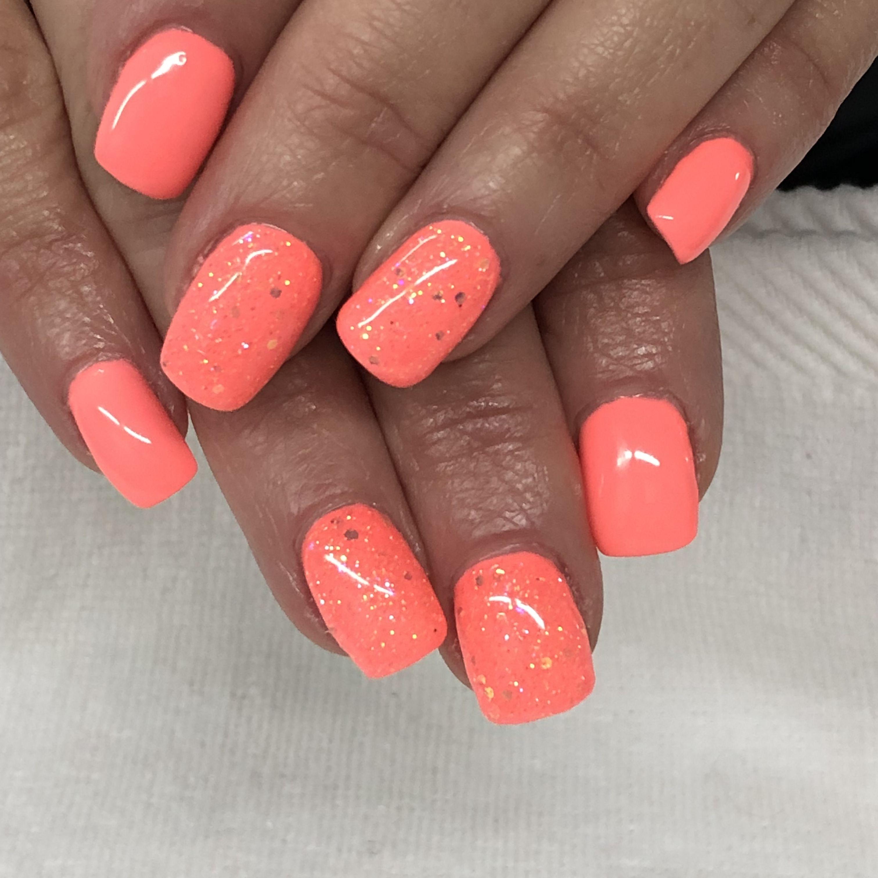 Bright Summer Coral Glitter Gel Nails Light Elegance Tailgator