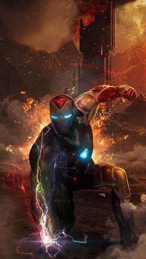 Iron Man with Infinity Stones iPhone Wallpaper Комиксы