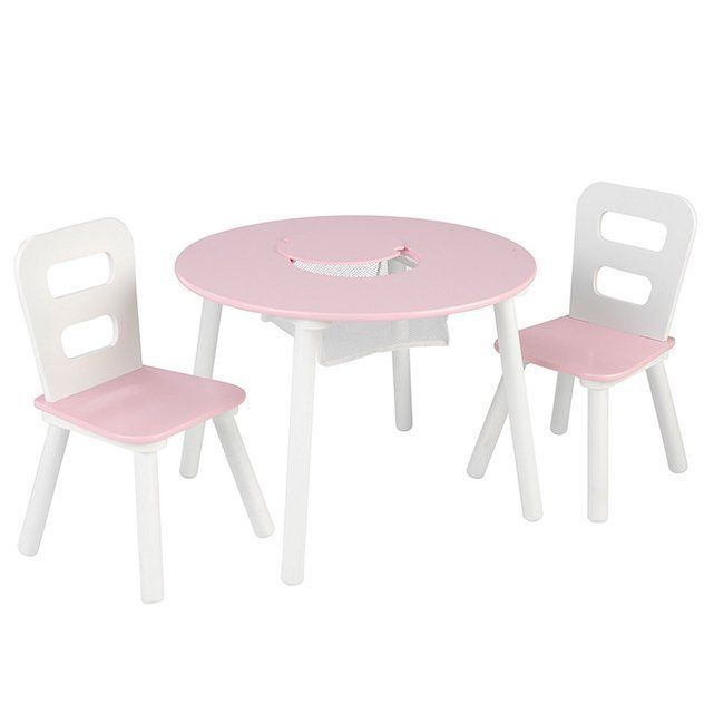 Kids Table Picnic Room Indoor Play Tables Round Set 2 Chairs Girls