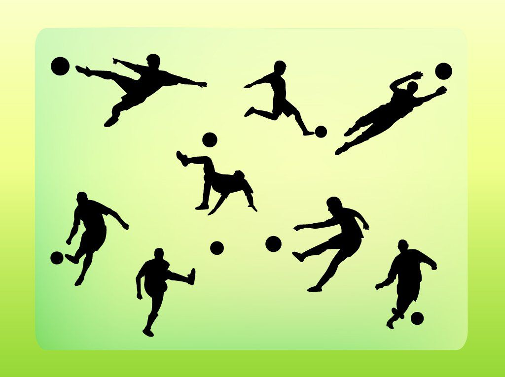 Free Football Silhouette Vectors Pack Of 8 Different Soccer Players In Dynamic Poses Kicking And Handling A Ball Silhouette Vector Football Silhouette Soccer