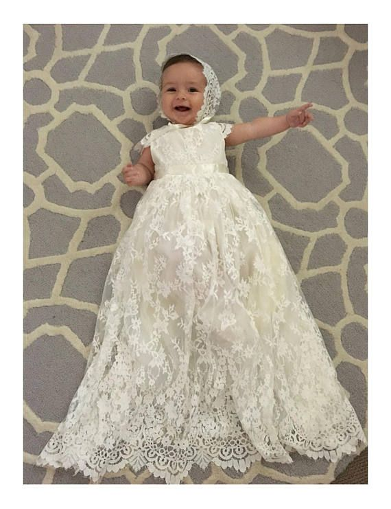 c650aa1a81 Sierra baby girl Lace long heirloom ivory couture christening ...