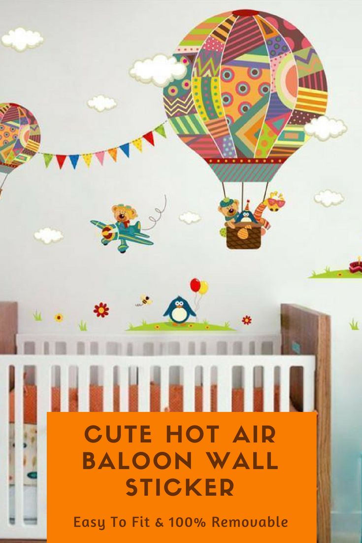 Animals in hot air balloon wall stickers our little one