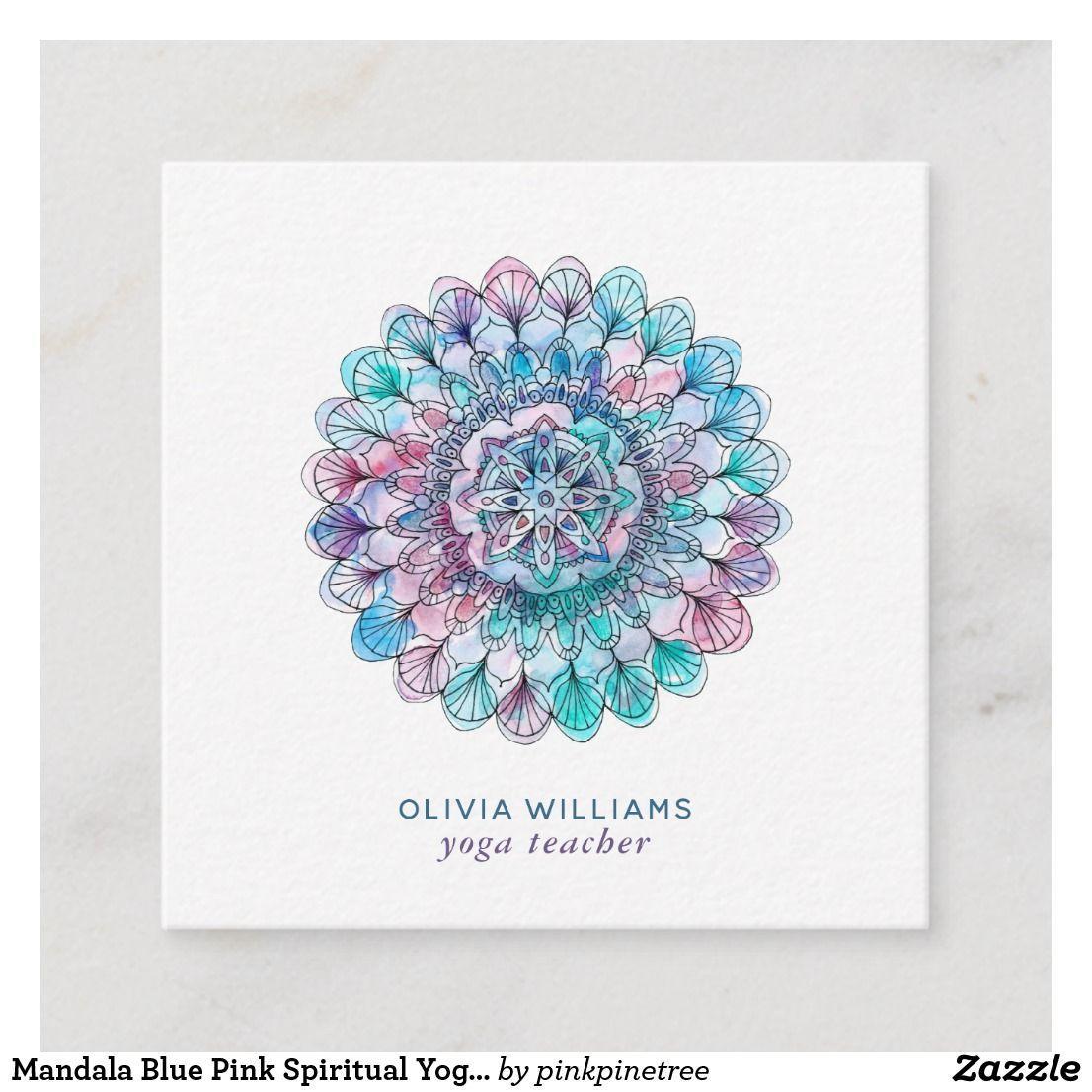 Mandala Blaue Rosa Geistige Yoga Visitenkarte Quadratische