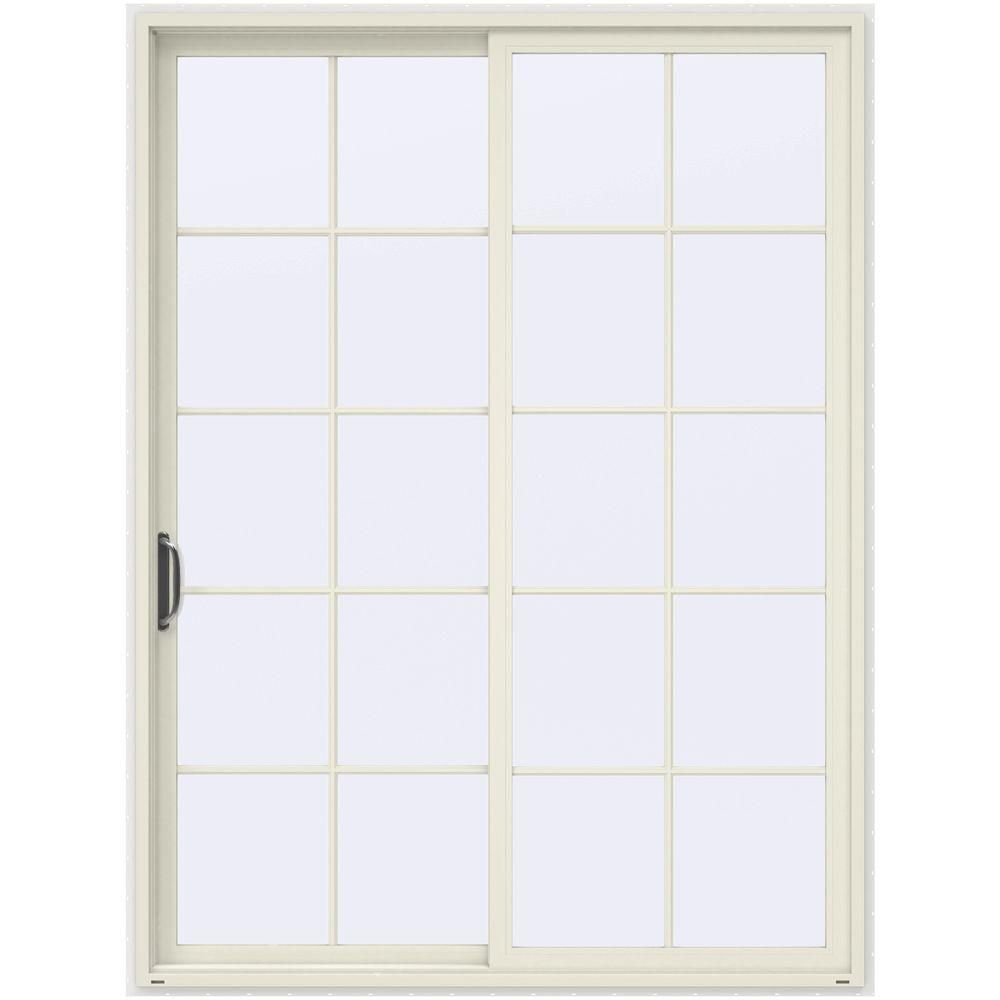 Jeld Wen 72 In X 96 In V 4500 French Vanilla Prehung Left Hand Sliding 10 Lite Vinyl Patio Door With White Sliding Patio Doors Window Vinyl