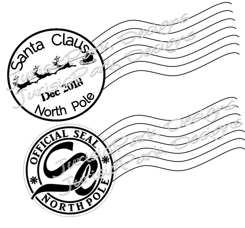 Christmas Santa 2020 Stamp North Pole Postage Png Jpeg Etsy Diy Letters Stamp Christmas Lettering