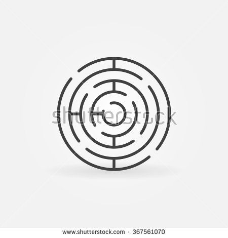 Round maze icon - vector simple circle labyrinth sign or