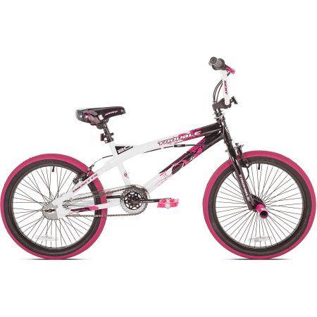 20 Kent Trouble Girls Bike Pink Black Walmart Com Kids Bike Sizes Kids Bicycle Bike