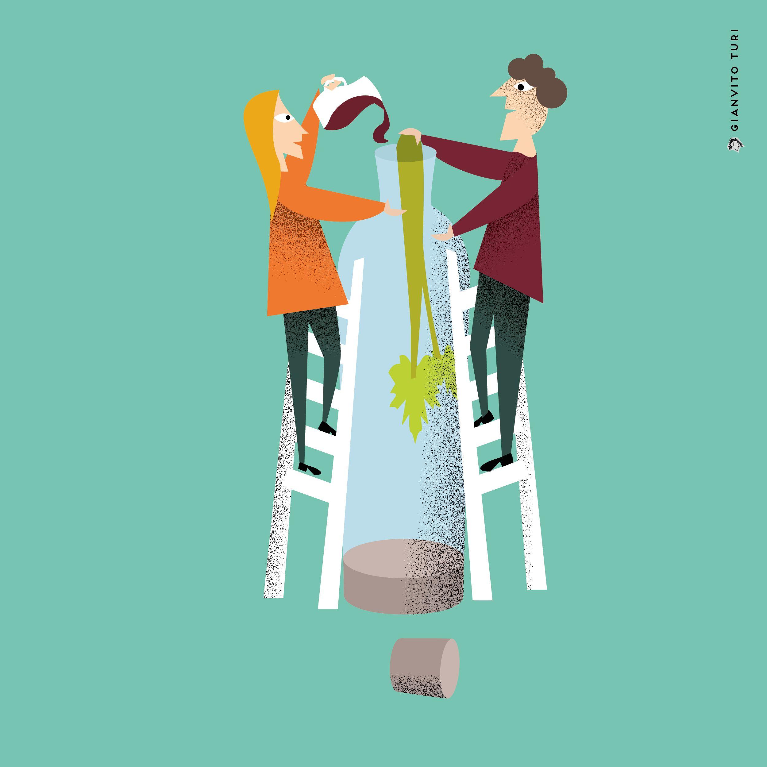 Illustrazione per Italian Tools. 20 regioni / 20 oggetti / 20 illustrazioni / UMBRIA / Contenitore per gustare il sedano con il vino. #illustration #illustrator #regione #Umbria #Italy #Tools #design #graphicdesign #bottiglia #vino #sedano #wine #bottle #celery #creativity #inspiration #visualart #digitalart #vector