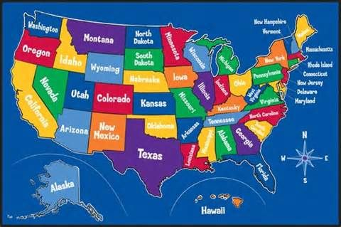 Map Of All The States In Usa.Name All 52 States In Usa Travel U S A Kids Area Rugs Kids