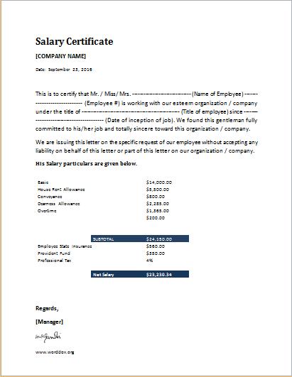 Salary Certificate Format Certificate Format Certificate