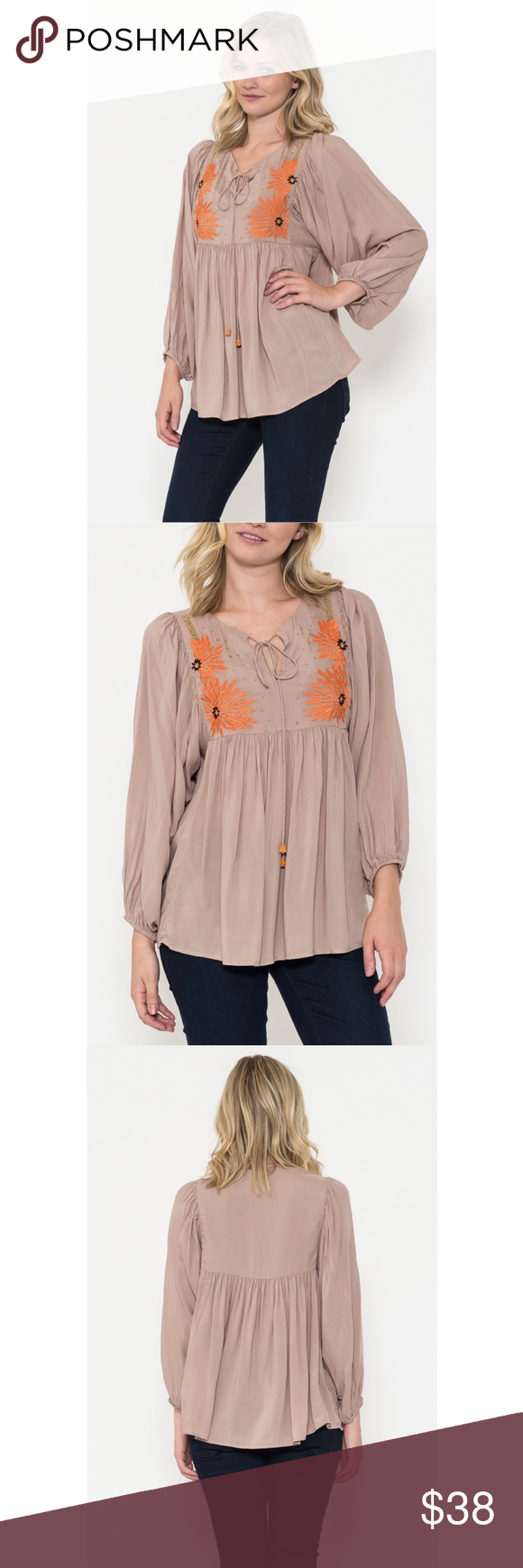 Beaded Peasant Top Bohemian long sleeve peasant blouse with flower embroidery and gold beading detail at front.  Wood beads string on collar.  Color - Taupe Esley Tops Blouses