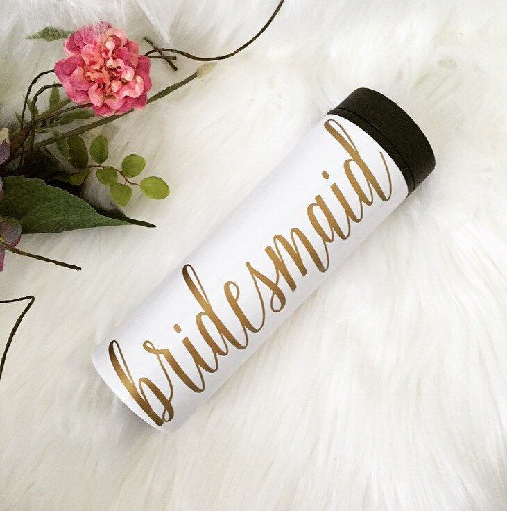 16 oz. Travel Tumbler -- Stainless Steel -- Bridesmaid Gift -- Bridal Party -- Personalized -- Calligraphy by TIMBERANDLACECO on Etsy https://www.etsy.com/listing/463184444/16-oz-travel-tumbler-stainless-steel