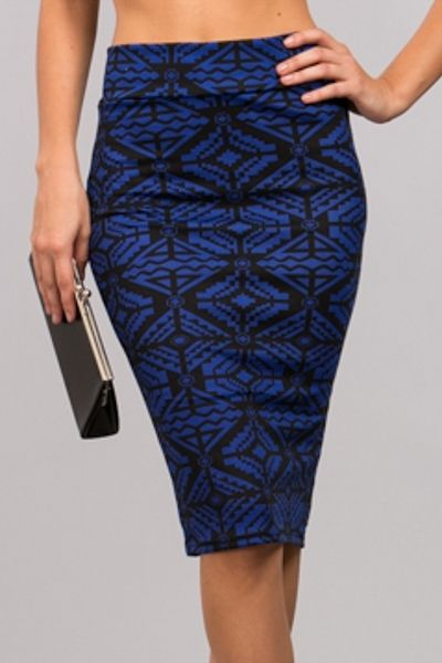 *** New Style ***print stretchy pencil skirt w/back slit 95% Rayon, 5% Spandex, Made in USA