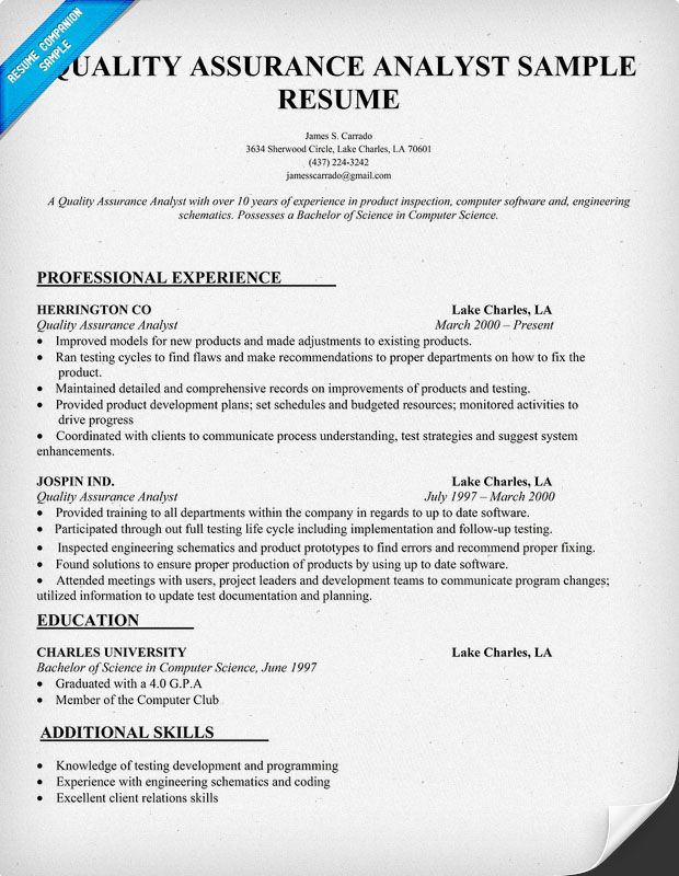 quality assurance analyst resume sample  resumecompanion com