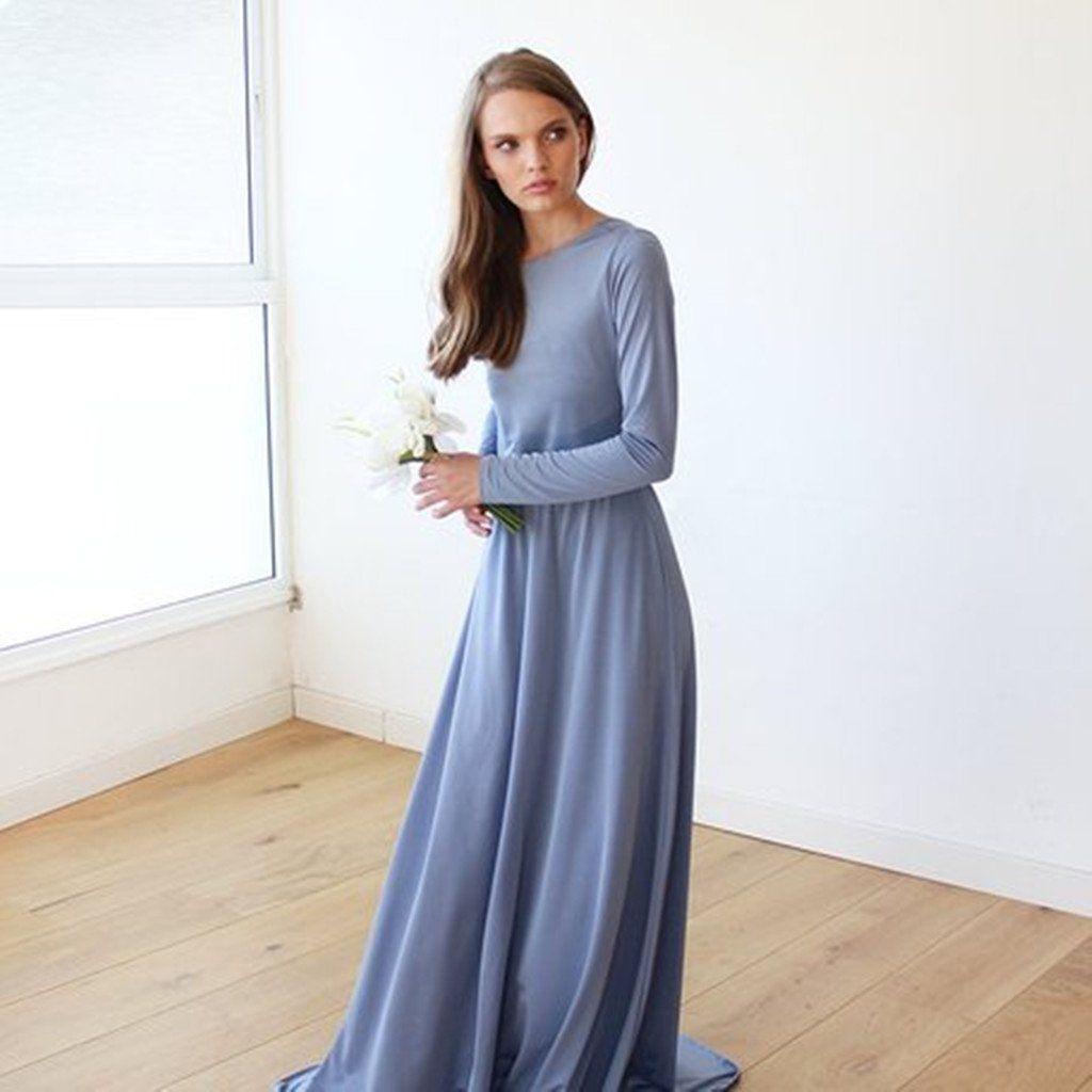 Elegant Long Sleeves Backless Simple Cheap Bridesmaid Dresses Bd0560 Blue Long Sleeve Maxi Dress Long Sleeve Bridesmaid Dress Dusty Blue Dress [ 1024 x 1024 Pixel ]