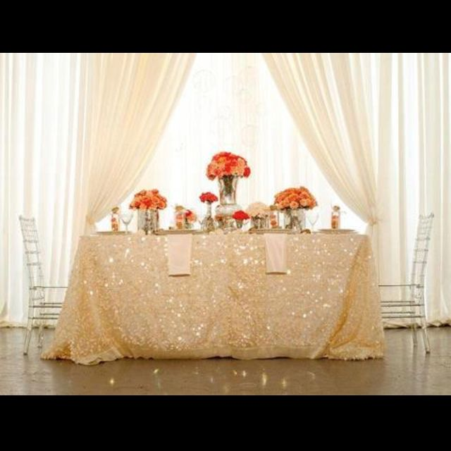 Love this! Love the sequin table cloth!