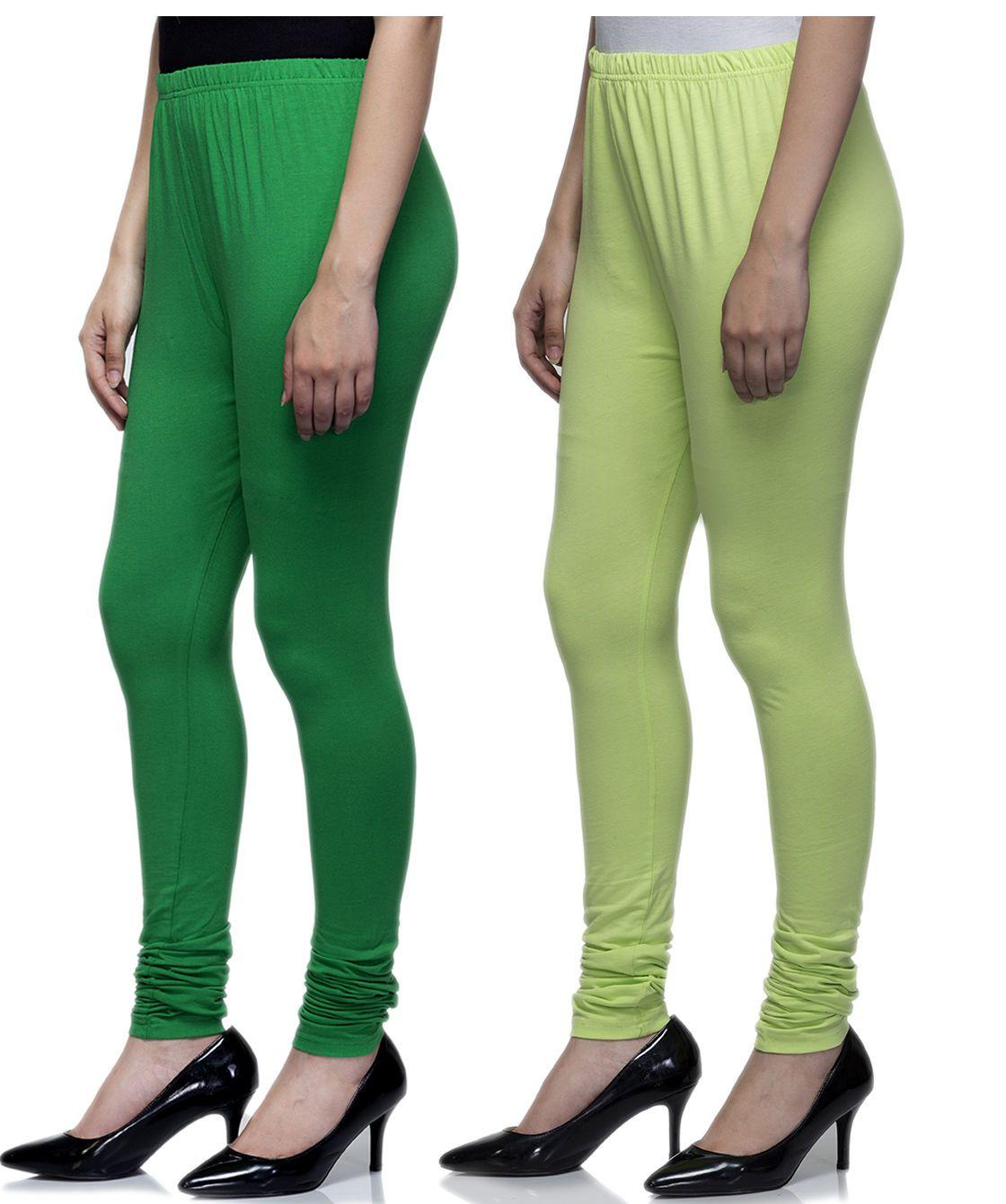 Laabha Churidar Stretchable Green & Lime Indian Ethnic Regular Women Legging