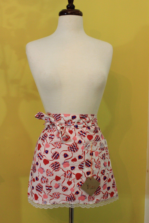 Housewarming Pink Flamingo Print Vintage Inspired Womens Kitchen Half Apron Hostess