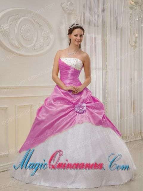 Lilac and White Strapless Floor-length Taffeta and Tulle Beading Quinceanera Dress - Magic Quinceanera