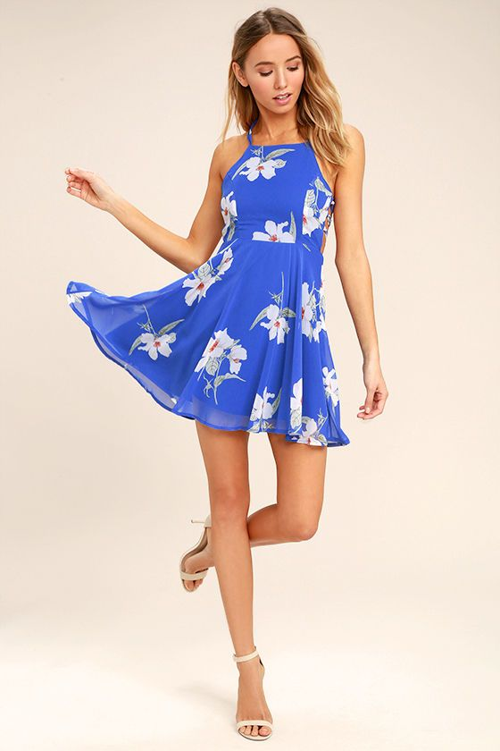 Happy Together Royal Blue Floral Print Lace-Up Dress 2   Spring Break 4f68859fb78d