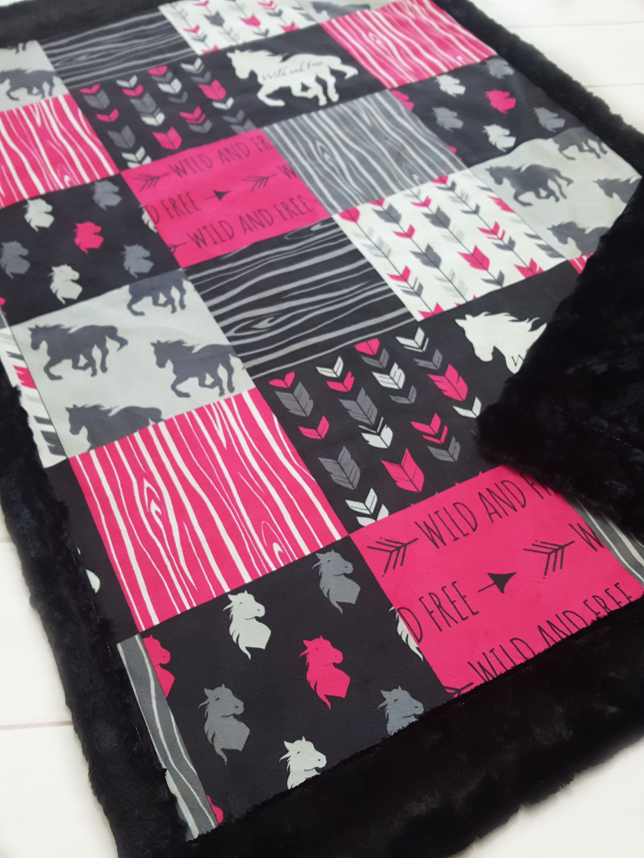 Horse minky blanket faux quilt hot pink grey baby size