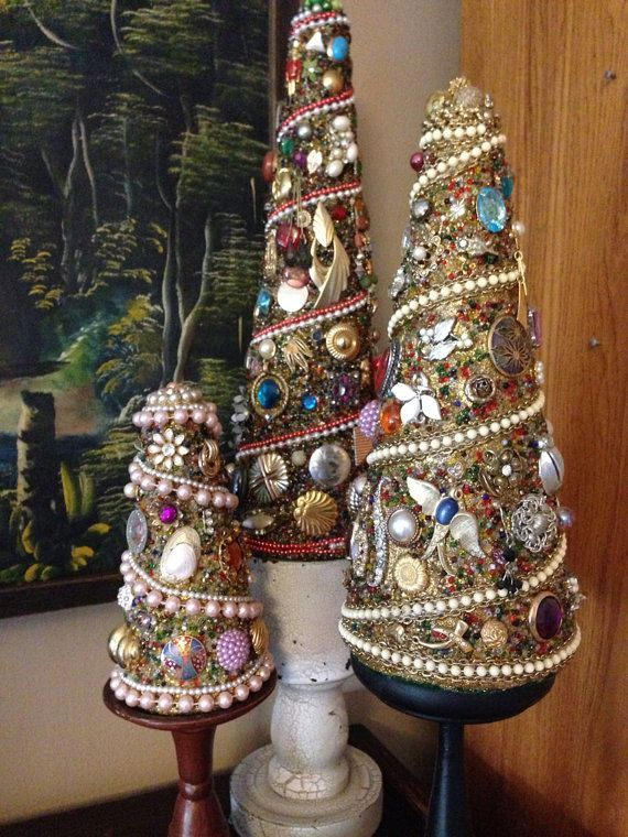 Image result for craft christmas tree made of jewelry | Christmas ...