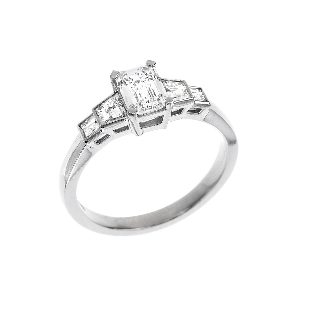 Platinum Five Stone Emerald Cut Trapeze And Square Diamond Engagement Ring 0 71ct