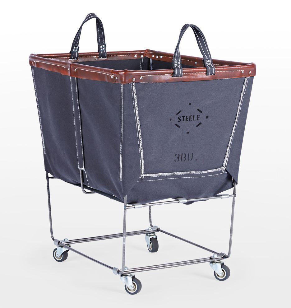 Steele Canvas 3 Bushel Laundry Bin Laundry Bin Leather Brown