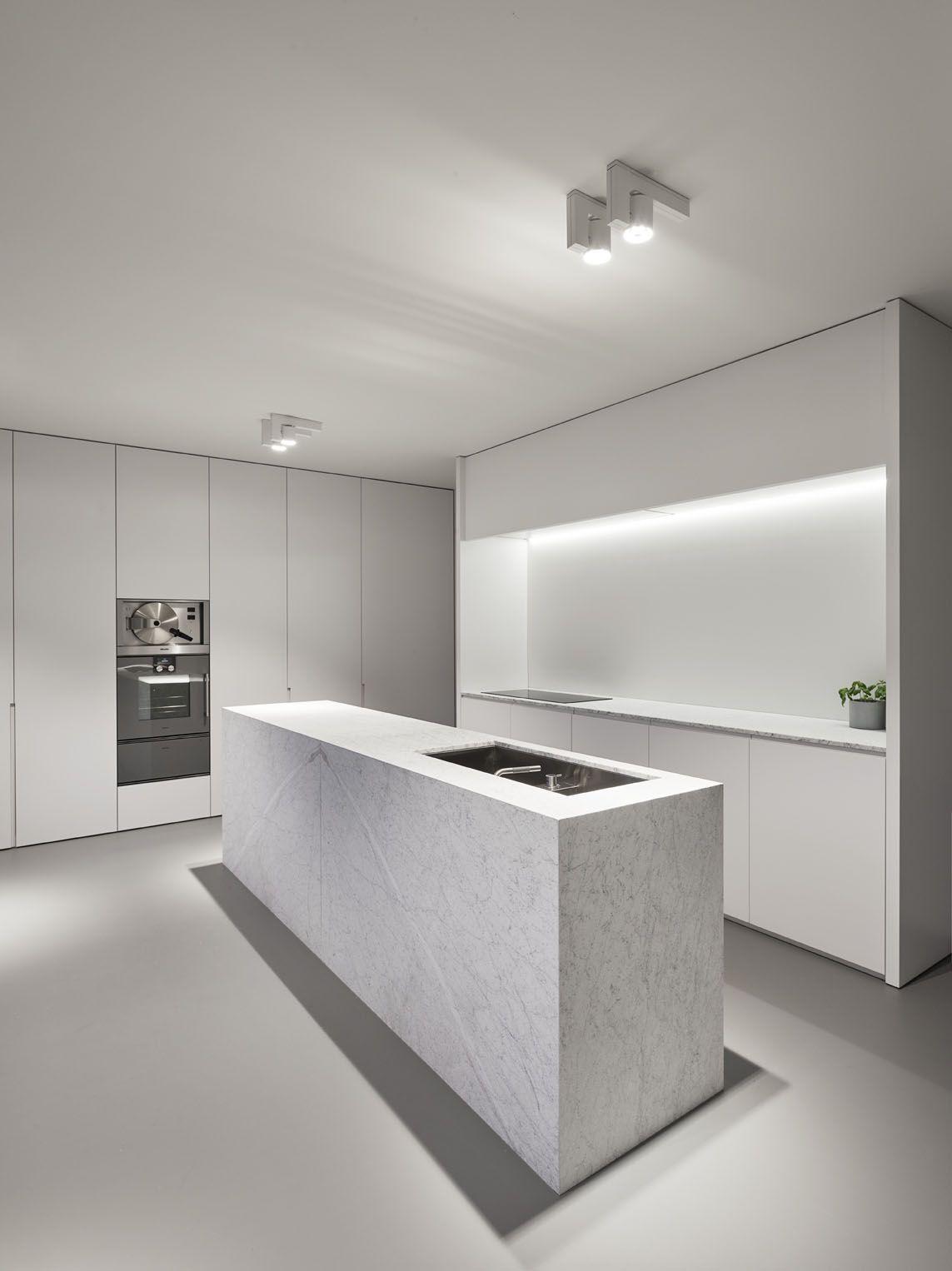 White marble kitchen minimalist modern spotlights kitchen island LED ...