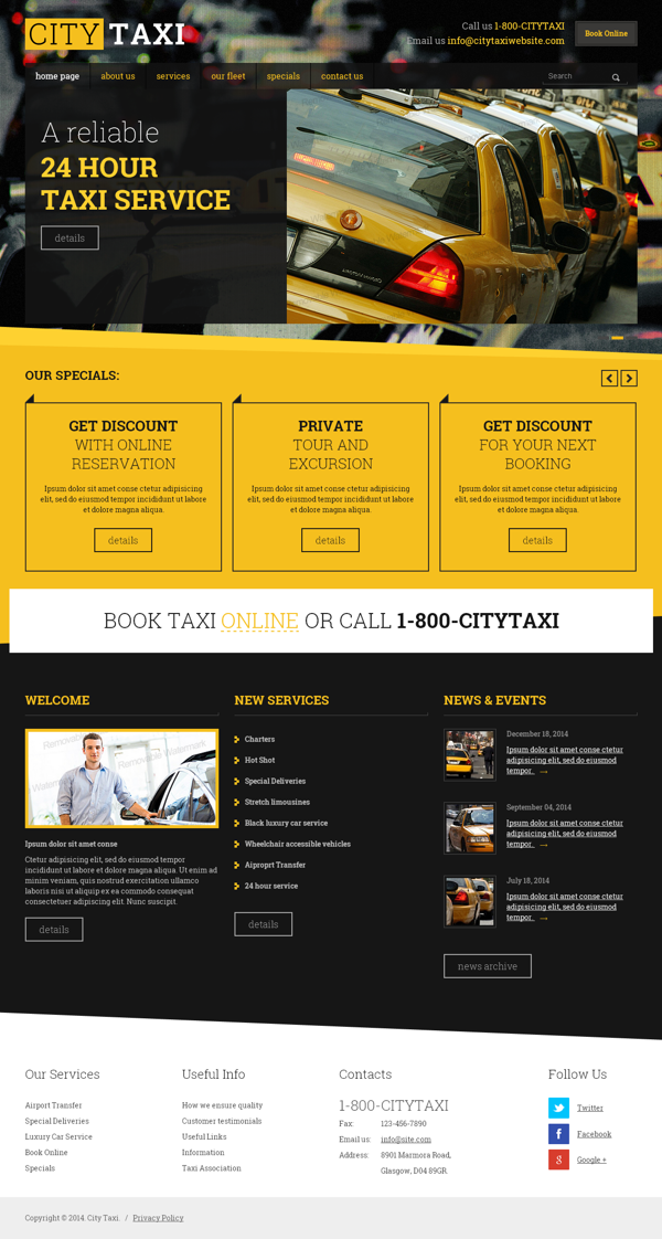 Taxi Service Html Template By Dynamic